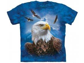 tričko-letící orel-americká vlajka-batikované-potisk-usa
