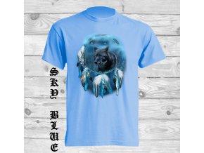 cerny vlk lapac snu tricko svetle modre
