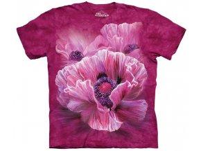 tričko, vlčí mák, květina, batikované, potisk, mountain
