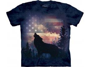 tričko-vyjící vlk-americká vlajka-potisk-batikované