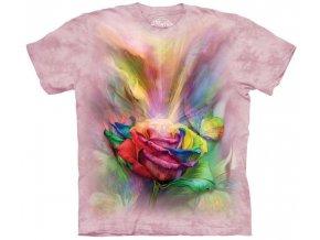 tričko, růže, květina, potisk, batikované, mountain