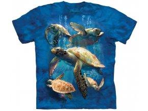 Tričko, mořské želvy, modré, potisk, batikované, mountain