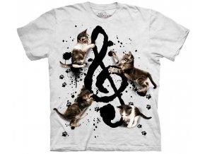 tričko, hudební, kočky, koťata, potisk, batikované