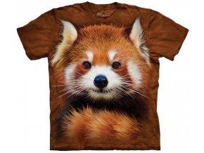 Tričko, červená panda, potisk, batikované, hnědé