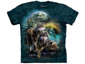 tričko, vlci, měsíc, batikované, potisk, mountain