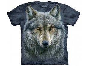 tričko, šedý vlk, hlava, batikované, potisk, mountain