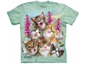tričko, kočky, selfie, batikované, potisk, vtipné