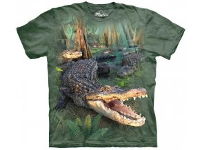 tričko, krokodýl, aligátor, batikované, potisk, mountain