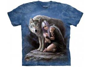 tričko, bílý vlk, dívka, batikované, potisk, mountain