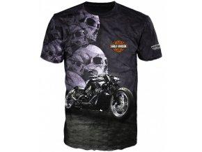 sede tricko motorka Harley Davidson