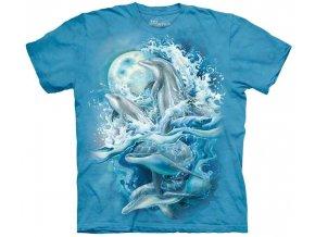 tričko, hejno delfínů, potisk, batikované, mountain