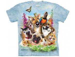 tričko, zvířata, selfie, batikované, potisk, vtipné