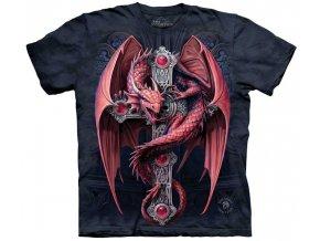 tričko, keltský, červený drak, kříž, batikované,  potisk