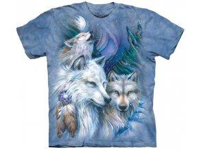 tričko, vlci, indiánské, batikované, potisk, mountain