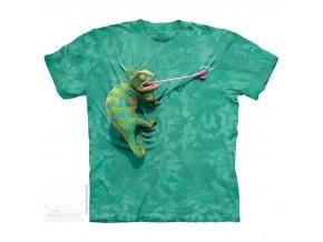 tričko, lovící chameleon, batikované, potisk, mountain, dětské