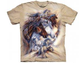 Tričko indiánské kůň mustang potisk batikované