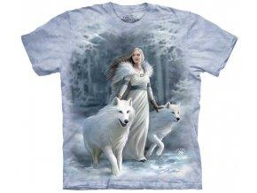 tričko-bílý vlk-dívka-batikované-potisk-vikingské