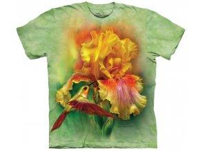 tričko, kosatec, květina, batikované,  potisk, mountain