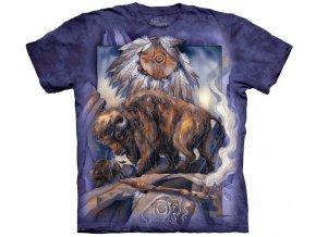 Tričko, indiánské, bizon, potisk, batikované, mountain