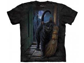 tričko, černá kočka, koště, potisk, batikované, magie