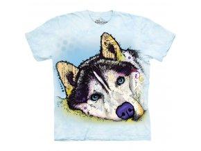 tričko, pes, husky, batikované, potisk, russo