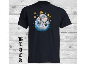 cerne tricko kosmonaut