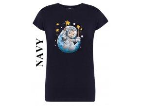 damske tmave modre tricko kosmonaut