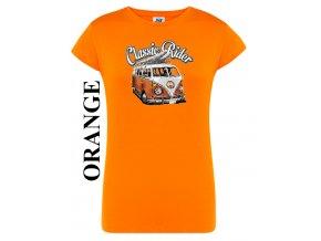 damske oranzove tricko hipie autobus VW