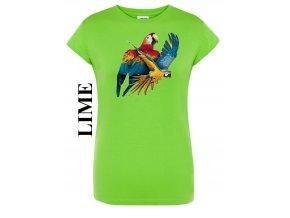 damske limetkove zelene tricko let papousku