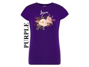 damske purpurove fialove tricko kvetiny laska