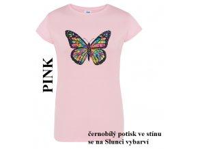 damske ruzove tricko neonový motýl