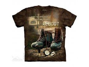 tričko, boty, pohorky, batikované, potisk, mountain