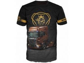cerne tricko s kamionem Scania