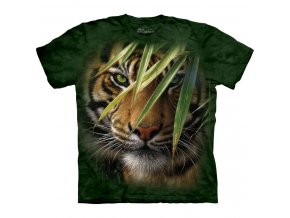 tričko, tygr, džungle, batikované, potisk, mountain