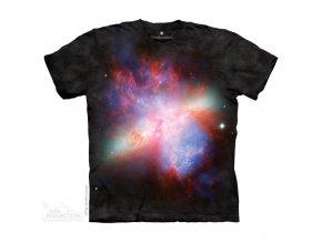 tričko, galaxie, supernova, batikované, potisk, mountain
