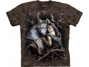 tričko, dívka, vlk, batikované,  potisk, mountain