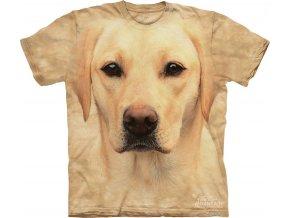 tričko, pes, 3d, batikované, potisk, žlutý labrador