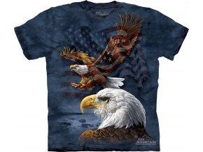 tričko, letící orel, orlí hlava, batikované,  potisk, usa