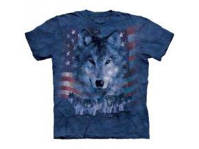 tričko-smečka-šedý vlk-batikované-potisk-vlajka usa