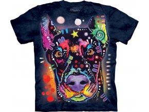 Tričko, pes, dobrman, potisk, batikované, russo