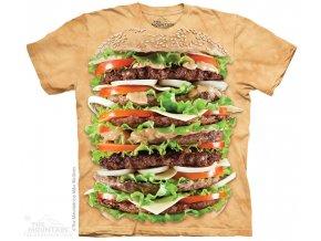 tričko, hamburgr, jídlo, batikované, potisk, gastronomie