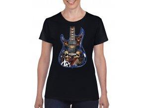 cerne dámske tricko hororova kytara