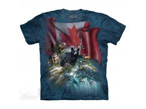 Tričko, kanada, medvěd, potisk, batikované, ryba