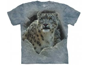 tričko, leopard, sníh, batikované, potisk, mountain