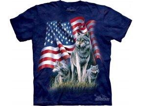 tričko, tři šedí vlci, americká vlajka, batikované, potisk, mountain