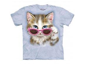 tričko, kočka, kotě, potisk, batikované, brýle