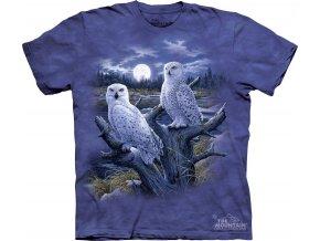 tričko, sovy sněhové, noční dravci, batikované, potisk, mountain