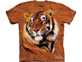 tričko, tygr, hlava, batikované, potisk, mountain