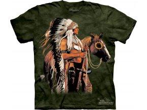 tričko, indián, kůň, mustang, potisk, batikované