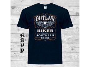 tmave modre tricko outlaw biker